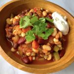 Three Bean Chili & Cashew Sour Cream (Dairy-free)