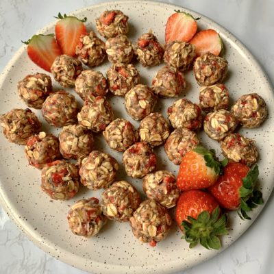 Strawberry Milkshake Protein Balls (Less than 15 minutes!)