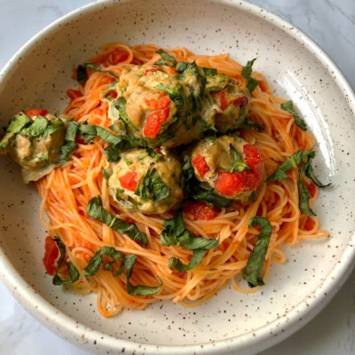 Roasted Red Pepper Turkey Meatballs (Grain-free, Few Ingredients)