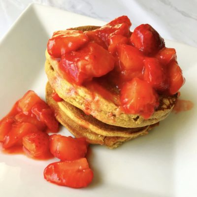 Chickpea Pancakes with Strawberry Compote (Less than 15 minutes!)