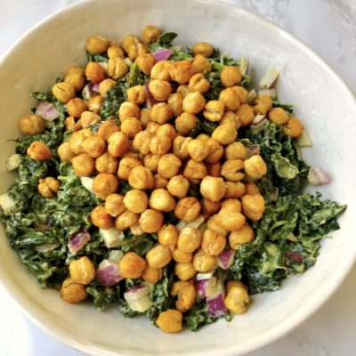 """Kale Salad with Chickpea """"Croutons"""" (Vegan & Gluten-free)"""